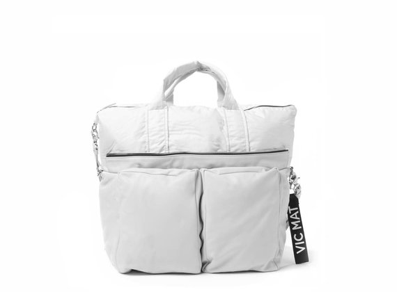 Alanis<br> padded shoulder bag in ice-white leather