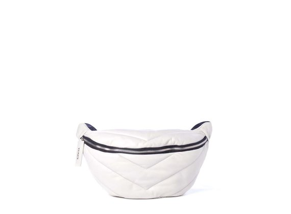 Egle<br> large ice-white quilted leather waist bag