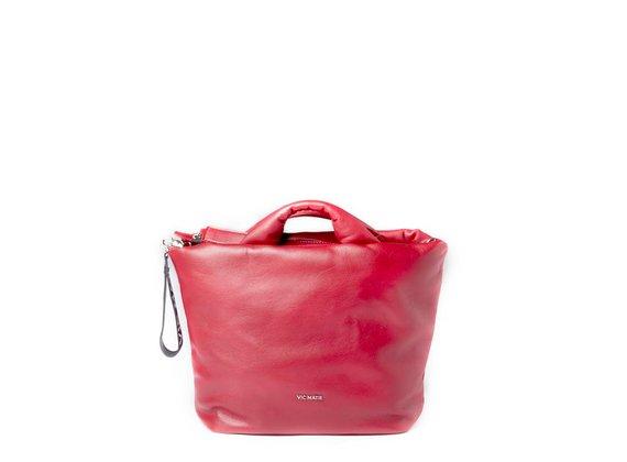 Ruth<br>Grand sac en cuir rouge évasé