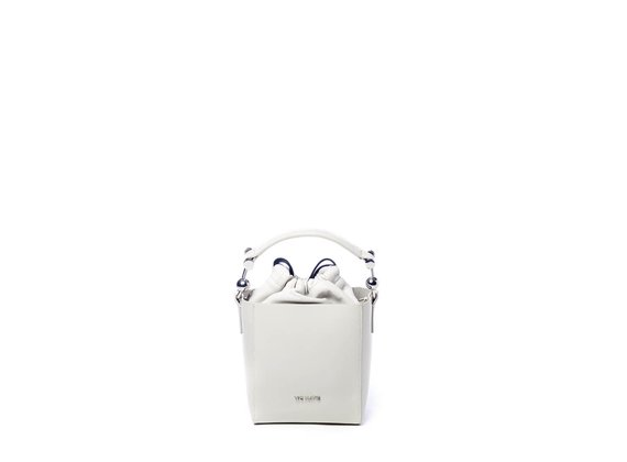 Sheila<br> structured ice-white leather bucket bag.