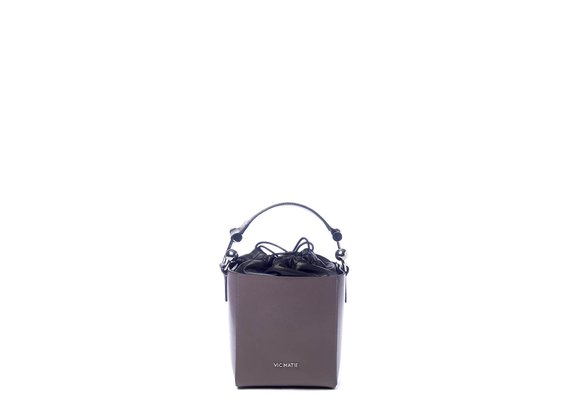 Sheila<br> structured grey leather bucket bag. - Grey / Black