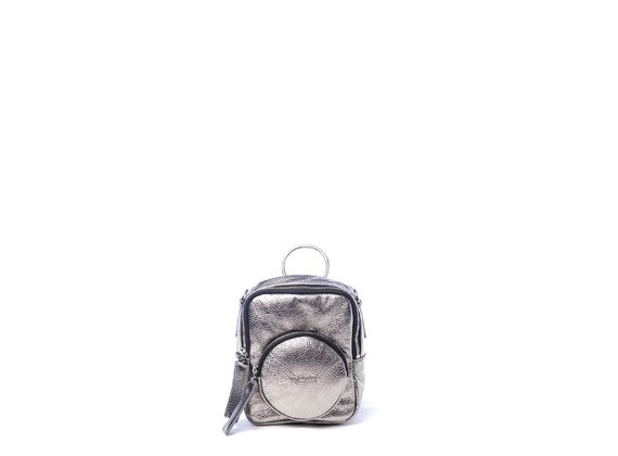 Beverly<br> mini laminated lead-grey square-shaped backpack