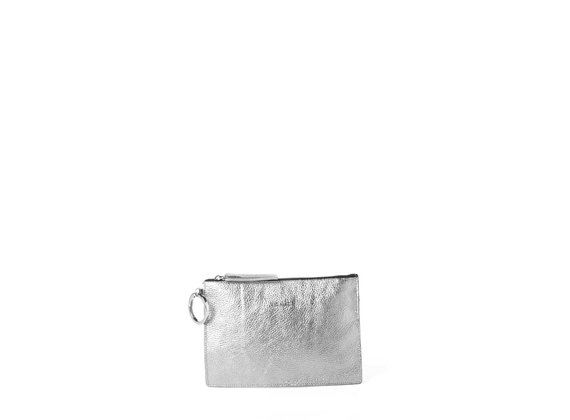 Abigail<br> laminated lead-grey leather clutch with logo.