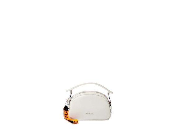 Babs Small<br> pearl-white mini bag with rings.