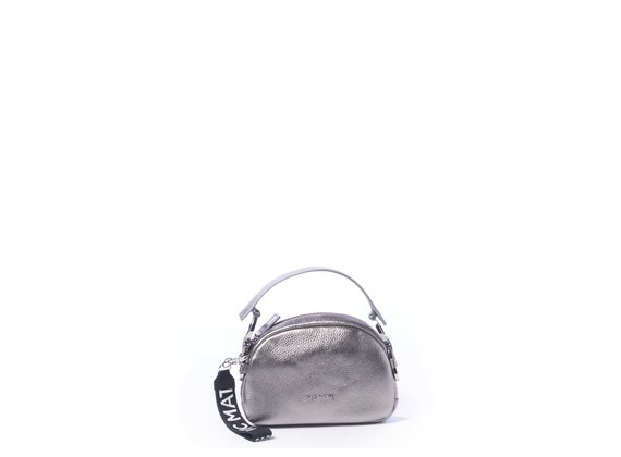 Babs Small<br> laminated lead-grey mini bag with rings.