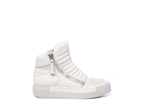 Biker-style ice-white ankle boots in calfskin