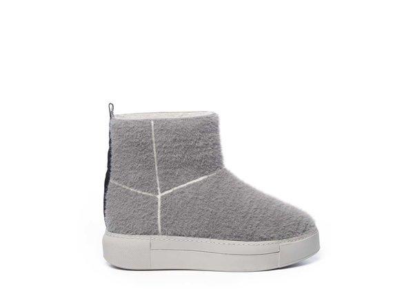 Sneaker Tubo in knit grigio e suola in tinta