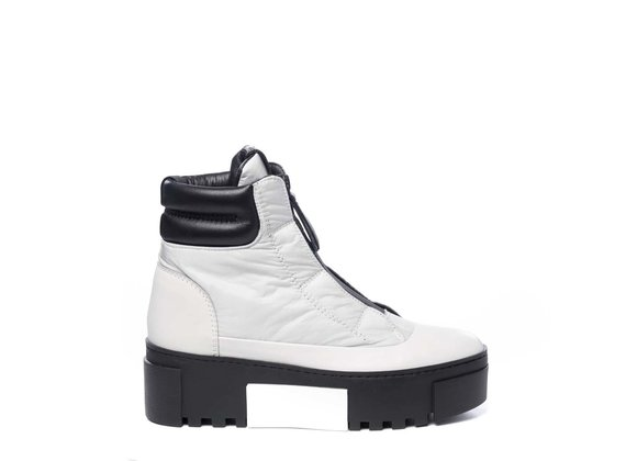 High-top trainers in ice-white leather and nylon with zip