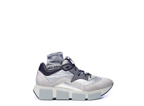 Running trainers in ice-white split leather and silver fabric