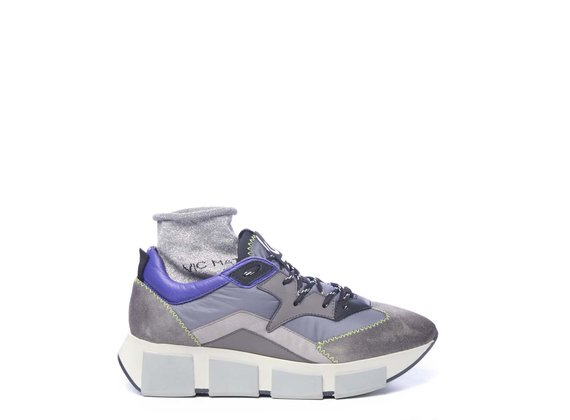 Grey split leather and fabric running trainers