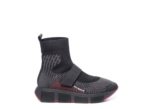 Grey/black/red knit technical-style high-top running trainers