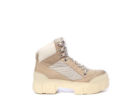 Honey-yellow fabric and nubuck leather walking boots