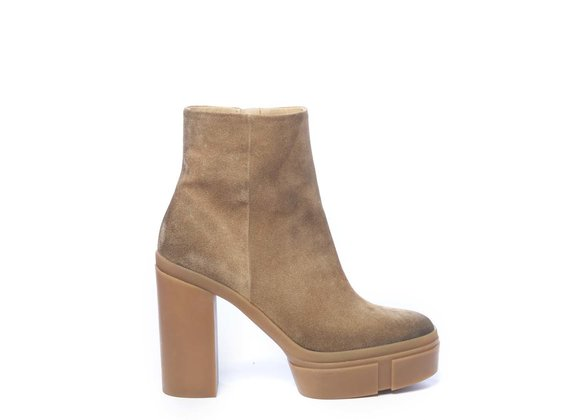 Honey-yellow split leather ankle boots with platform