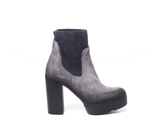 Grey split leather Beatle boots with platform