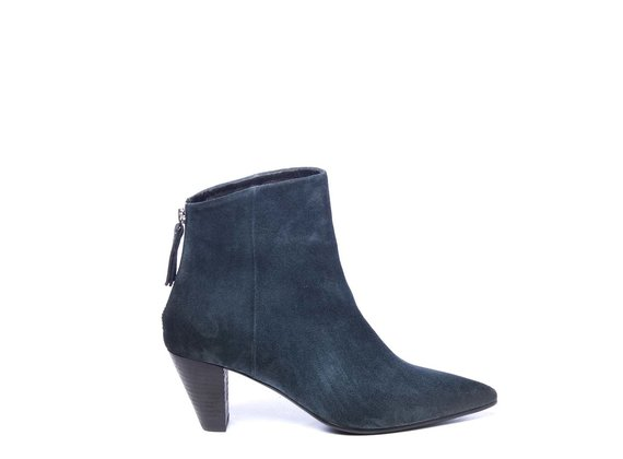 Zipped teal ankle boots in split leather with cone heels