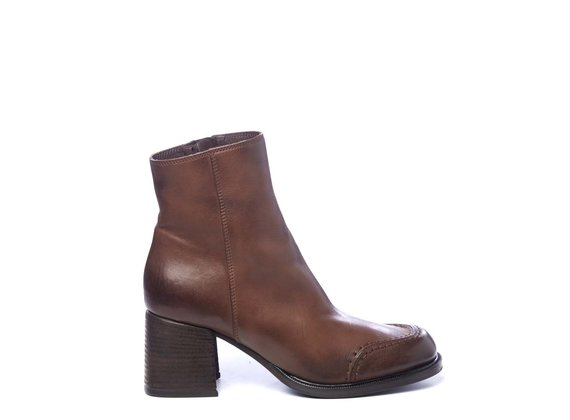 Brown calfskin ankle boots