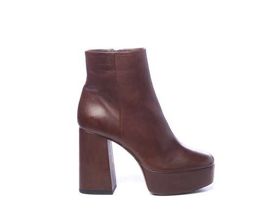 Brown leather ankle boots with platform