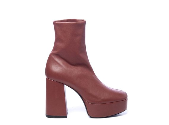 Bottine en cuir rouge brique stretch