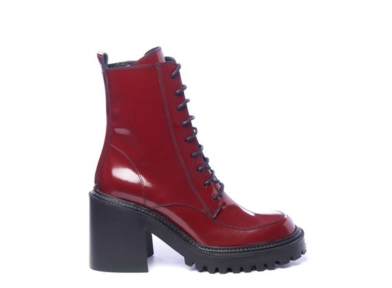 Lugged-sole combat boots in brushed ruby-red leather