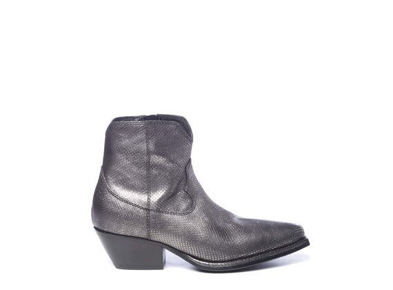 Steel-grey laminated leather cowboy boots