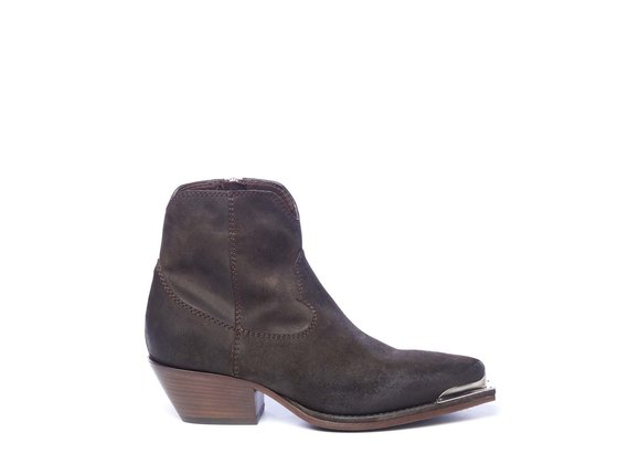 Dark brown cowboy ankle boots in split leather with toe piece