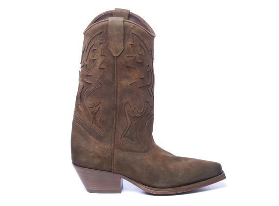 Tobacco-brown split leather cowboy boots with embroidery