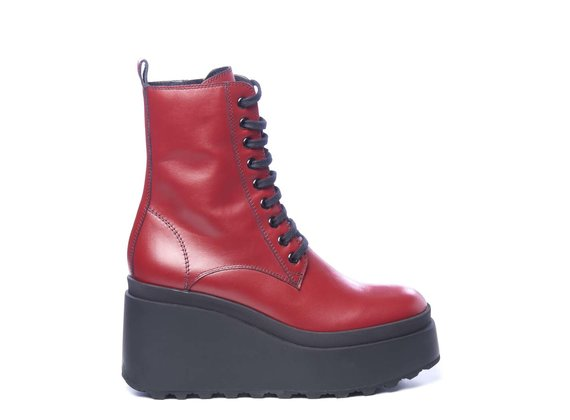 Red calfskin combat boots with wedge