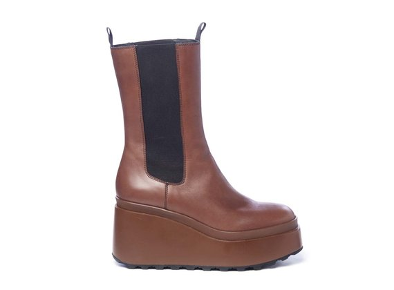 High brown calfskin Beatle boots with wedge