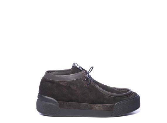 Chaussure Polacco pour homme en croûte de cuir marron foncé à effet vintage