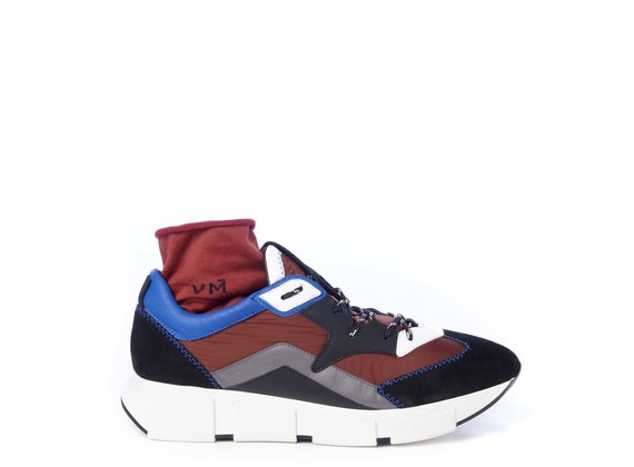 Men's running shoes in black split leather/brick-red fabric