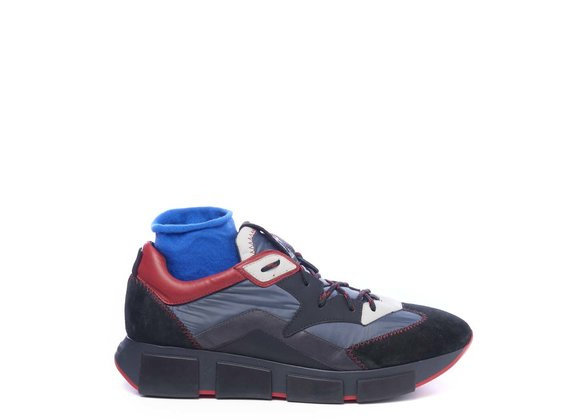 Men's running trainers in black split leather/grey fabric - Multicolor
