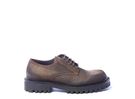 Men's dark brown split leather derbies