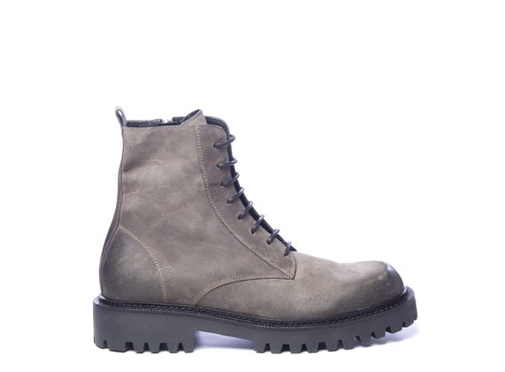 Men's clay-brown split leather combat boots