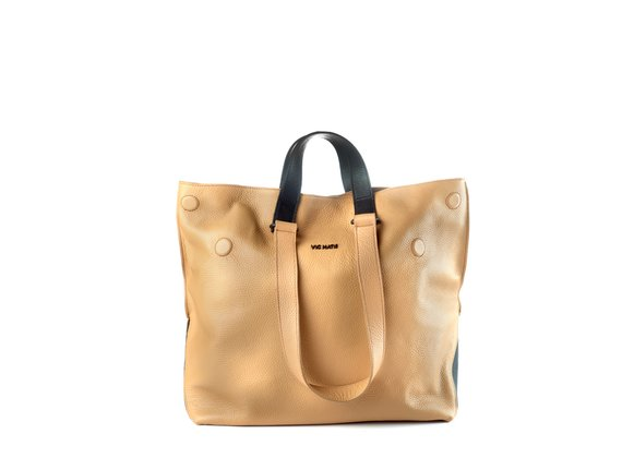 Agathe<br />Tan-brown/black leather shopper bag