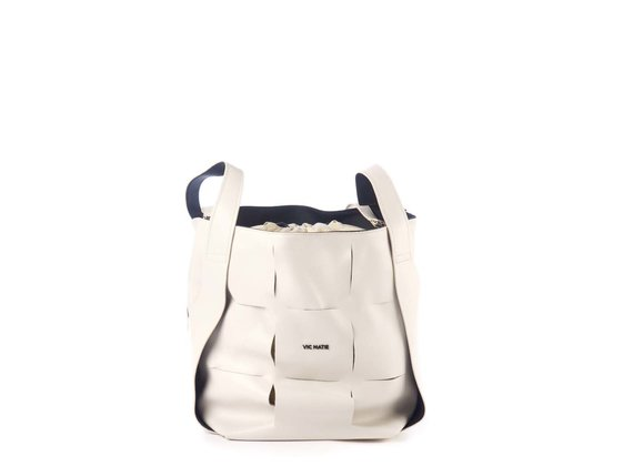 Nadege<br />Large ivory-coloured leather bucket bag