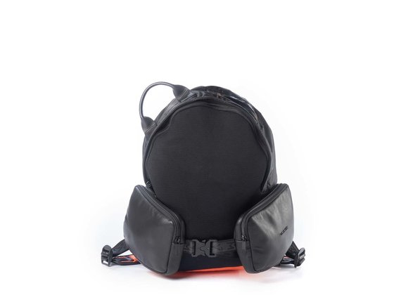 Asher<br />Technical backpack in black/orange mesh, leather and nylon