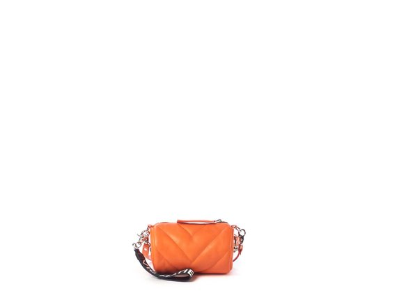 Deva Small<br />Mini orange leather barrel bag