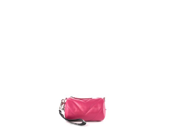 Deva Small<br />Mini magenta leather barrel bag - Fuchsia