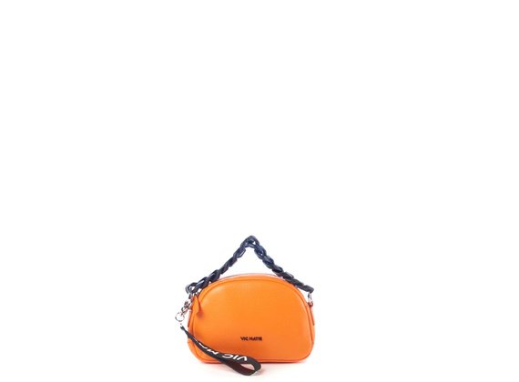 Babs Small<br />Mini orange leather bag with black chain - Orange