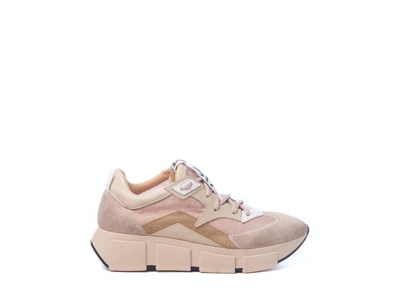 Vintage powder-pink running shoes in split leather and nylon