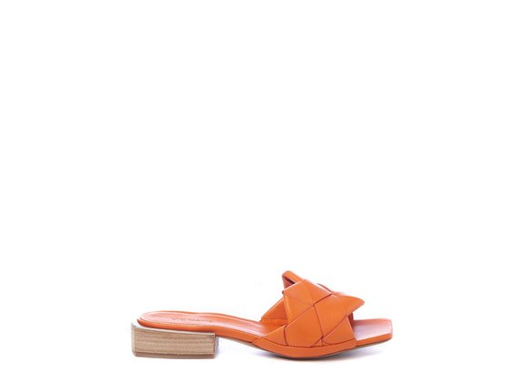 Flat orange calfskin slip-ons