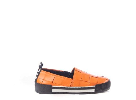 Orange calfskin slip-ons