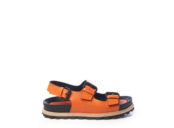 Orange footbed sandals with straps