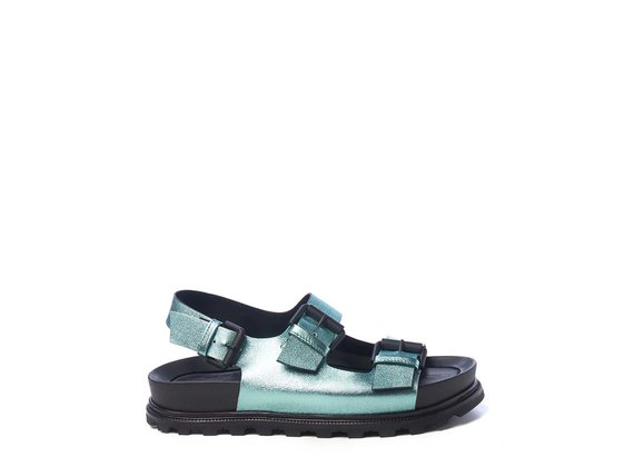 Sky-blue footbed sandals with straps