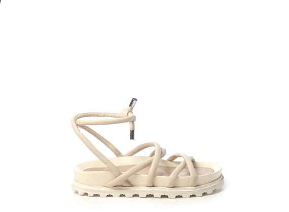 Footbed sandals with thin ivory-coloured strips - Beige