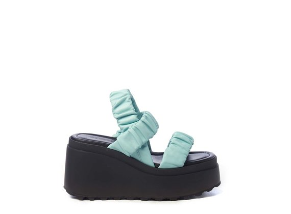 Wedge sandals with 3 sky-blue bands