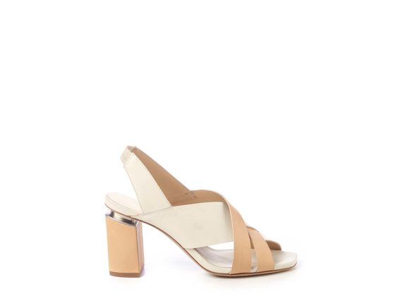 Beige and ivory chanel sandals with suspended heel