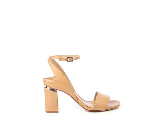 Tan-brown sandals with suspended heel