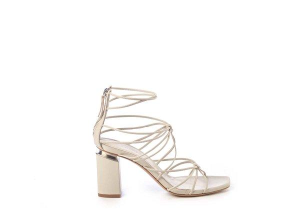 Sandale à lacets en cuir ivoire sur talon suspendu - Beige