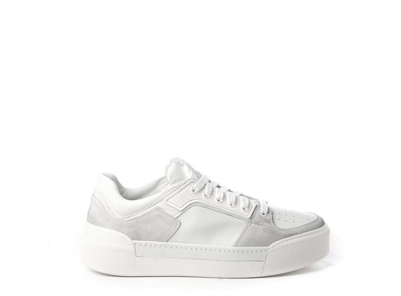Men's white calfskin and split leather sneakers